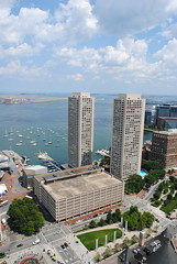 The Harbor Towers, completed 1971, from Custom House Tower observation deck (David Coviello) Tags: boston architecture buildings massachusetts customhouse