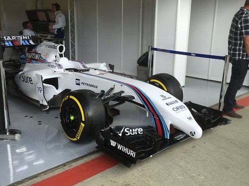 The Williams garage during Formula One In Season Testing at Silverstone, July 2016