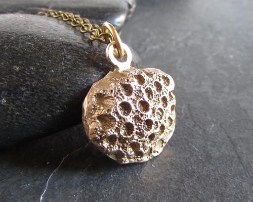 Cast bronze coral pendant