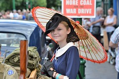 1940's day at the Black Country Living Museum. (Colin McLurg) Tags: uk portrait england girl smile lady wwii 1940s parasol dudley blackcountrylivingmuseum colinmclurg