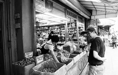 Shopping in Chinatown #4 (absolutman) Tags: street newyorkcity blackandwhite bw shopping mushrooms store chinatown market sony streetphotography ilce a6000 sonya6000