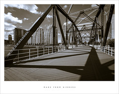 (Parallax Corporation) Tags: blackandwhite sunlight shadows salfordquays duotone girders detroitbridge