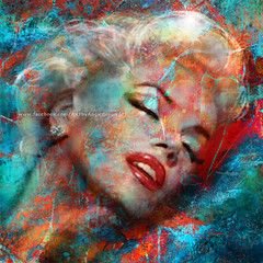 MM Universe.. (ARTbyAngieBraun) Tags: angie braun painting marilyn monroe mm portrait abstract colourful red sensual lips sexy blond woman icon diva lashes poster prints noram sleeping girl universe