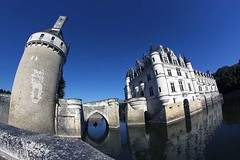 Chateau de Chenonceau 1 (photoautomotive) Tags: france french europe fisheye chateau rivercher chateaudechenonceau lorievalley water reflection river tower towers building old 16thcentury rowboat samyang8mm 8mm 50d canon sky