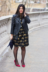 panther dress, leather jacket, red pumps-2.jpg (LyddieGal) Tags: christmas winter red holiday black fashion gold outfit navy style express wardrobe anthropologie leatherjacket animalprint thrifted clarev pantherdress weekendstyle