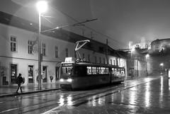 Rainy night in Bratislava (Osdu) Tags: world street city travel bw tourism rain night europe tram slovakia tramway bratislava