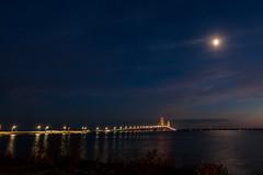 Big Mac in the Moonlight (larryhayes1757) Tags: bridge moon lake water lakemichigan moonrise lakehuron mackinaw macinac
