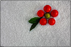 IMG_4977/b (*melkor*) Tags: light red white snow macro green art fruits geotagged salt experiment newyear minimal greetings conceptual leafs fakesnow lightbox 2015 melkor alteredcolors altred trashbit smallfruits analteredone