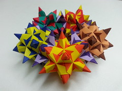 Wreath of spiky cuboctahedra (hyunrang) Tags: spiky origami wreath hur cuboctahedron bascetta