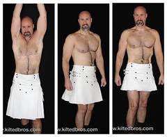 3 White Kilts Compared (kiltedbros) Tags: gay sexy fashion vegan kilt masculine mens kilts crueltyfree swag almostnaked fauxleather freeballing cargokilt