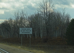 Good Advice (trainmann1) Tags: road trip trees sign mi highway driving michigan sony cybershot prison caution interstate 2008 amateur