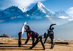 YOGA TIME [Explored On 2015-02-27] (srsyrus) Tags: nepal mountains yoga poonhill annapurnarange morningexcercise
