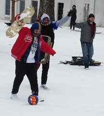 Football, Snowboard, & Sled...Why not??? (meredith2277) Tags: winter snow dallas football soccer sledding snowday winterweather whiterocklake