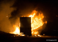 Truck Fire - SH1 Paremata (111 Emergency) Tags: newzealand truck fire flames wellington inferno porirua