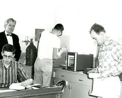 Dr. Vernon Winn with students, 1961-62 (PUC Special Collections) Tags: laboratory lab 1960s pacificunioncollege chemistrydepartment chemistrylab chemistry beakers test tubes scientist labcoat experiments angwin california adventist sda seventhdayadventist college