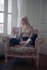 film (La fille renne) Tags: film analog lafillerenne 35mm canonae1program 50mmf18 dnpcenturia100 expired expiredfilm portrait woman model tattoo ink blueregard indoor louiseblueregard