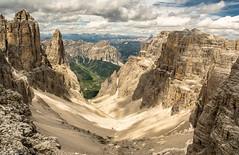 View from the top. (AlbOst) Tags: italy snow mountains alps scree dolomites sasspordoi dappledlight colfosco mountainviews italiandolomites sellamassif