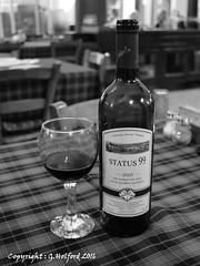 Cheers (Holfo) Tags: foodanddrink relaxation restaurant wine winebottles wineglass nikon 5100 alcohol bar business documentary monochrome blackandwhite