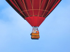 People in Hot Air Balloon (duaneschermerhorn) Tags: camera blue red sky people brown yellow photo colorful photographer basket balloon hotairballoon phonecamera