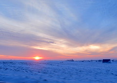 December 2012 (quirkyjazz) Tags: pink blue winter sunset orange snow wisconsin rural evening purple outdoor