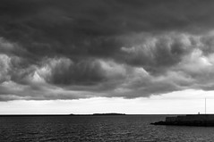 Hilbre Island Silhouette (David Chennell - DavidC.Photography) Tags: bw mono storm wirral westkirby marinelake merseyside silhouette hilbreisland