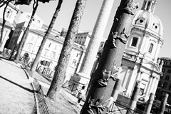 Straight lines (lorenzoviolone) Tags: agfascala200 bw blackwhite blackandwhite dof finepix forum fujix100s fujifilm fujifilmx100s imperialforum monochrome tourism vsco vscofilm x100s church columns depthoffield dome mirrorless path pointofview pole pov streetphoto streetphotobw streetphotography tourists trajancolumn walk:rome=aug032016 roma lazio italy