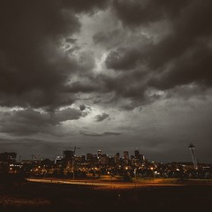 Denver (Blockshadows) Tags: explore storming storm muted moody sky grime blackandyellow bw white black blackandwhite monochrome mono canon 1635mm28 28 1635mm wideangle nightphotography night nightscape cityscape city colorado denver