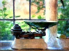 Kitchen Scales (sbox) Tags: kitchen scales avery digitalpainting digitalart textures painterly window garden