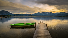sunset at the lake (Klaus Steinert) Tags: sunset lake boat steg sonnenuntergang see boot hopfensee allgäu bayern bavaria platinumheartaward