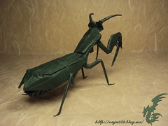 Praying Mantis (Rydos) Tags: kamiya satoshi praying mantis kamiyasatoshi prayingmantis paper origami art hanji koreanpaper korean green paperfold fold folding paperfolding insect bug