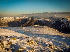 Wild camp at highest English mountain (lukskat) Tags: early morning view towards our tents from top scafell pike wild camp highest english mountain uk england europe snow tent marabut nikon p7000