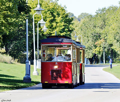 Tram at a local park. (Gillian Floyd Photography) Tags: red tram ride transportation park