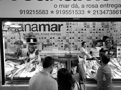 Fish (52er Bild) Tags: mercadodaribeira lissabon fish fisch markt portugal nexus 5x lisboa monochrom leute people verkauf fishmarket market markthalle markethall rosanamar blackwhite bw schwarz weiss udosteinkamp