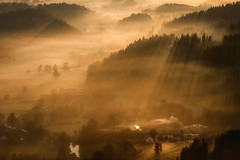 The Brightest Ray of Sunrise (Bonnie And Clyde Creative Images) Tags: landscape canon light sunrise mist poland popular autumn