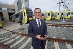 Mayor with Rail Cars (Metro - Los Angeles) Tags: kinki kinkisharyo lightrailvehicles expoline blueline goldline greenline ericgarcetti mikebonin johnfasana jacquelyndupontwalker palmdale losangeles metro mta