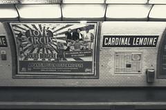 De l'humour et de l'amour (Smilvria) Tags: light blackandwhite bw white black paris france underground advertising waiting metro wait francia parigi foliesbergere cardinallemoine