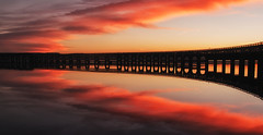 Tay Rail Bridge Autumn Sunset (scrimmy) Tags: autumn sunset night reflections river scotland afternoon riverside rivertay dundee railway ripples goldenhour tayrailbridge