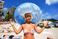 Enjoying the Sun. (PeeterTomson) Tags: ocean life sun beach girl hawaii waikiki oahu loop good explore bikini enjoy fujifilm honolulu 12mm aloha xa1 rokinon