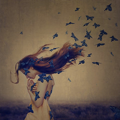 the sound of flying souls, part 1 (brookeshaden) Tags: new york city nyc selfportrait field fog butterfly butterflies brooke awareness fatigue fineartphotography fibromyalgia shaden chronicpain caterpillarwalk