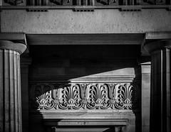 Between The Columns (derek.dpr) Tags: bw black monochrome architecture scotland edinburgh columns royal scottish olympus frieze architectural classical column academy rsa xz10