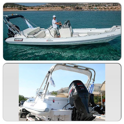 Superb design & exceptional build quality?! 1 of the most appropriate Scorpion ribs to sail around the #greek islands! Rent it here! #rib #boat #sea #greece #scorpion