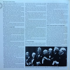 Inside Concert Of The Century - Celebrating the 85th Anniversary of Carnegie Hall, Live Recording May 18, 1976 - Dietrich Fischer-Dieskau, Vladimir Horowitz, Yehudi Menuhin, Mstislav Rostropovich, Isaac Stern, The Oratorio Society, NY Phil., Leon (Piano Piano!) Tags: musician artwork album vinyl collection record sleeve hoes 12inch vynil hulle gramophonerecordplattediscvinyllplangspeelplaatklassiekclassicalclassique grammofoonlangspielplatte recordalbumdisclpvinylvynil12inch coverarthoeshulle12inch discdisquerecordalbumlplangspeelplaatgramophoneschallplattevynilvinyl