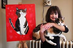 jingle bella portrait (citygirlny10305) Tags: portrait cat painting hearts feline child creative kitty canvas gato calico oilpainting talented cato