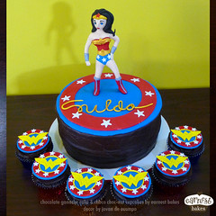 Wonder Woman (starshuffler) Tags: party woman cake comics stars wonder dessert justice dc sweet chocolate ganache cupcake wonderwoman superhero ww league justiceleague superfriends fondant earnest gumpaste bakes earnestbakes