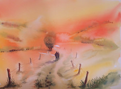A deux.... (carine hubeaux) Tags: orange couple promenade campagne aube levdesoleil