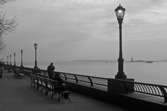 New York City; Hudson River View (drasphotography) Tags: new york city nyc bw white black monochrome silhouette statue river liberty streetphotography and sw hudson freiheitsstatue schwarzweis of drasphotography