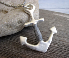 Silver Plated Anchor Necklace - Silver Plated Anchor Pendant - Nautical Necklace - Nautical Jewelry - Statement Jewelry (galcohen2014) Tags: silver necklace long feminine jewelry gift bridesmaid statement anchor nautical chic pendant