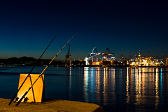 Drapetsona view (Magganaris Manolis) Tags: nikon d7100 low key night photography drapetsona sea view reflections lights ships port cranes fishing blue nikkor 35mm