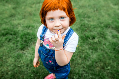 sun (denis_demyanchuk) Tags: red redhead baby blue overalls jeans child green lawn ukraine eyes tenderness cute people outdoor kid smile conceived