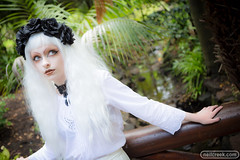 Lou in White (neilcreek) Tags: girl white forest green trees goth fashion eyes lips beautiful sweet magical ethereal magic woman model gaze bridge creek water garden makeup loukenton eastmelbourne victoria australia au